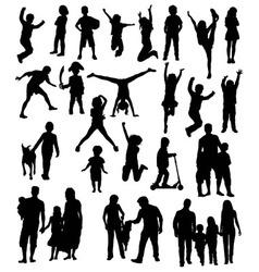 Happy Kid Silhouettes vector image vector image