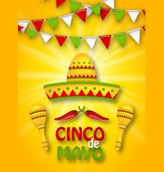 Holiday celebration banner for cinco de mayo vector