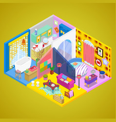 modern apartment interior design isometric vector image