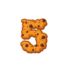 number 5 cookies font oatmeal biscuit alphabet vector image