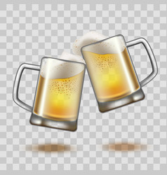 realistic detailed full beer glass mugs on a vector image vector image