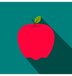 Red apple flat icon with shadow vector image vector image