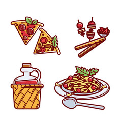 Set of tasty italian traditional food vector