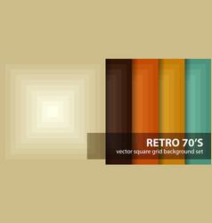 Square pattern set retro 70s seamless vector