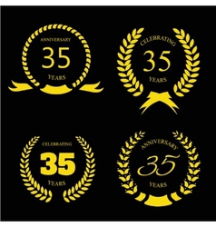 Thirty five years anniversary laurel gold wreath vector