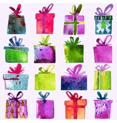 Watercolor christmas set with gift boxes vector