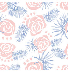 Watercolor pattern with palm leaves roses vector