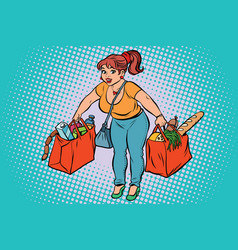 young woman with grocery shopping vector image vector image