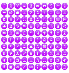 100 hairdresser icons set purple vector