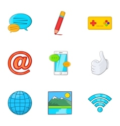 Communication over internet icons set vector