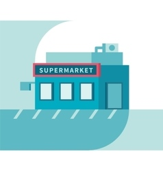 Supermarket front view market shop building flat vector