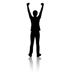 Silhouette of a man who raised his hands vector
