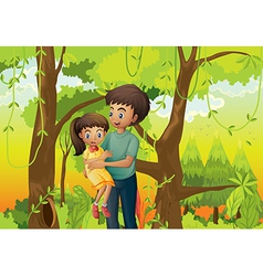 A forest with a father carrying his daughter vector