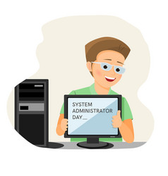 System administrator day card vector