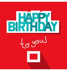 Happy Birthday Template on Red Background vector image