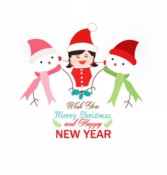 baby girl and snowman wearing scarf christmas vector image