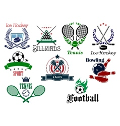 Team and individual sports heraldic emblems vector