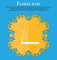 Smoking sign icon cigarette symbol floral flat vector