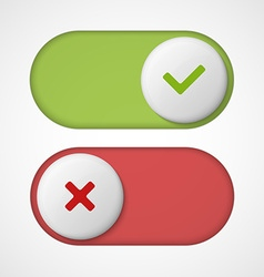 On off 3d switches sliders with red and green vector
