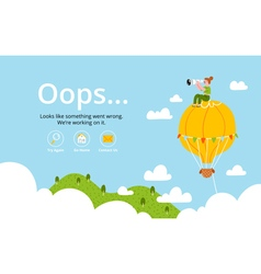 Oops error page with hot air balloon vector