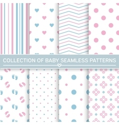 Collection of baby seamless patterns vector image
