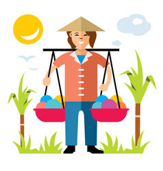 asian vendor flat style colorful cartoon vector image vector image