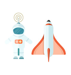 astronaut and space rocket isolated on white vector image vector image