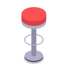 Bar stool in red color isolated flat design vector