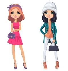 beautiful fashion girls vector image vector image