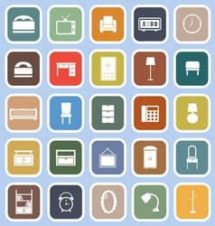 Bedroom flat icons on blue background vector