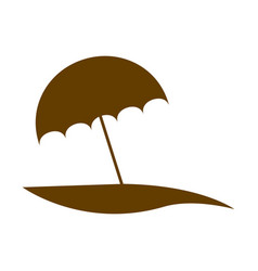 Brown silhouette beach with umbrella vector
