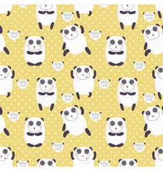 Cartoon pattern with cute panda guru in love vector