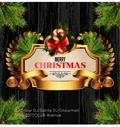 Christmas background with golden frame and holiday vector