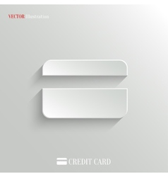 Credit card icon - white app button vector image