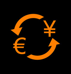 Currency exchange sign euro and japan yen orange vector