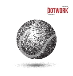 Dotwork Tennis Sport Ball Icon made in vector image