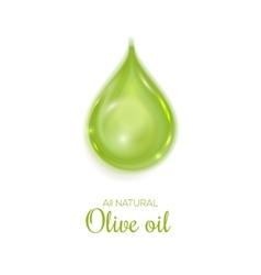 Drop of all natural olive oil symbol vector image