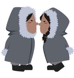 Eskimo couple vector