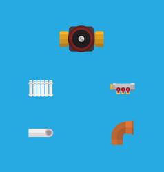 flat icon plumbing set of pipework iron drain vector image vector image