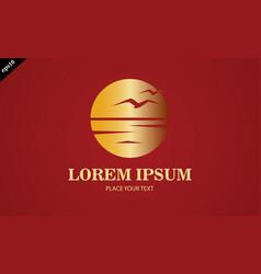 gold sunset seagul logo vector image