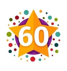 Happy sixtieth birthday badge icon vector
