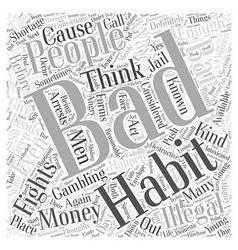Illegal bad habits word cloud concept vector