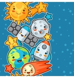 Kawaii space seamless pattern Doodles with pretty vector image vector image