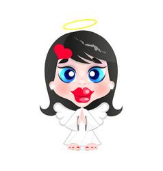 little girl angel vector image vector image