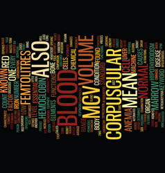 Mean corpuscular volume text background word vector