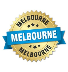 Melbourne round golden badge with blue ribbon vector
