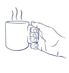 Mug with hot tea in hand vector