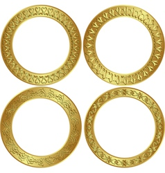 round golden frame vector image vector image