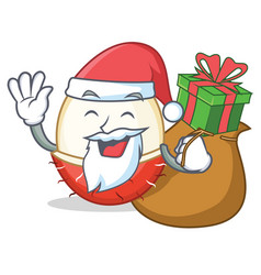 Santa with gift rambutan mascot cartoon style vector