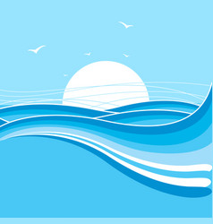 sea and sun backgroundnature with waves vector image